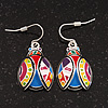 Funky Multicoloured Enamel 'Ladybug' Drop Earrings In Silver Tone Metal - 3.5cm Length