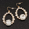 Bridal Clear Glass Open Teardrop Gold Tone Earrings - 4cm Drop