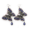 Long Burn Silver Purple Acrylic Bead 'Butterfly' Drop Earrings - 10cm Length
