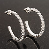 Small Slim Clear Diamante Hoop Earrings In Silver Plating - 2.5cm Diameter