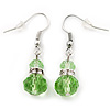Small Light Green Glass Bead Drop Earrings In Silver Plating - 3.5cm Length