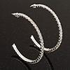 Slim Clear Diamante Hoop Earrings In Silver Plating - 5cm Diameter