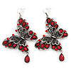 Long Burn Silver Red Acrylic Bead 'Butterfly' Drop Earrings - 10cm Length