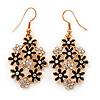 Black Enamel Clear Crystal Floral Drop Earrings In Gold Plating - 5cm Length