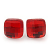Red Square Glass Stud Earrings In Silver Plating - 10mm Diameter