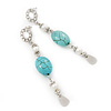 Long Turquoise Stone & Simulated Pearl Drop Earrings In Silver Plating - 7.5cm Length