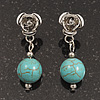 Silver Plated 'Rose' Turquoise Ball Drop Earrings - 3.5cm Length