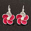 Small Deep Pink Enamel Diamante 'Flower' Drop Earrings In Silver Finish - 2.5cm Length