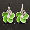 Small Lime Green Enamel Diamante 'Flower' Drop Earrings In Silver Finish - 2.5cm Length