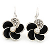 Small Black Enamel Diamante 'Flower' Drop Earrings In Silver Finish - 2.5cm Length