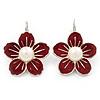 Red Enamel Faux Pearl 'Daisy' Drop Earrings In Silver Plating - 4cm Diameter