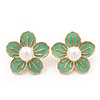 Lime Enamel Faux Pearl 'Daisy' Stud Earrings In Gold Plating - 3cm Diameter