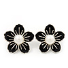 Black Enamel Faux Pearl 'Daisy' Stud Earrings In Silver Plating - 3cm Diameter