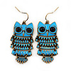 Vintage Blue Enamel &#039;Owl&#039; Drop Earrings In Antique Gold Metal - 5.5cm Length