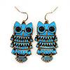 Vintage Blue Enamel 'Owl' Drop Earrings In Antique Gold Metal - 5.5cm Length