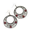 Burn Silver Filigree Hoop Earrings With Red Stone - 6.5cm Drop