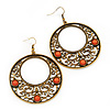 Burn Gold Filigree Hoop Earrings With Coral Stone - 6.5cm Drop