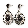 Burn Silver Teardrop Black Resin Stone Drop Earrings - 5cm Length