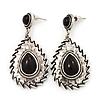 Burn Silver Teardrop Black Resin Stone Drop Earrings - 5cm Length