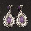 Burn Silver Teardrop Purple Resin Stone Drop Earrings - 5cm Length