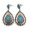 Burn Silver Teardrop Turquoise Coloured Acrylic Bead Drop Earrings - 5cm Length
