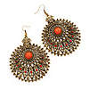Large Filigree Red Diamante Chandelier Earrings In Burn Gold Metal - 9.5cm Length/ 6.5cm Diameter