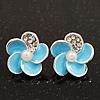 Small Light Blue Enamel Diamante 'Flower' Stud Earrings In Silver Finish - 15mm Diameter