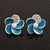 Small Blue Enamel Diamante 'Flower' Stud Earrings In Silver Finish - 15mm Diameter