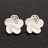 Small White Enamel Diamante 'Flower' Stud Earrings In Silver Finish - 15mm Diameter