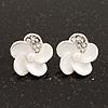 Small White Enamel Diamante 'Flower' Stud Earrings In Silver Finish - 15mm Diameter