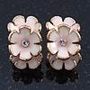 C-Shape White/ Light Pink Enamel 'Floral' Stud Earrings In Gold Plating - 25mm Length