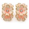 C-Shape Cream/ Pink Enamel 'Floral' Stud Earrings In Gold Tone - 25mm L