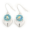 Rhodium Plated Light Blue Diamante Floral Drop Earrings - 3.5cm Length