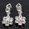 Delicate Ice Clear Crystal Flower Drop Earrings In Silver Plating - 1.5cm Length
