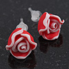 Children's Pretty Red Acrylic 'Rose' Stud Earrings With Acrylic Backings - 9mm Diameter