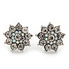 Clear Diamante Floral Stud Earrings In Silver Plating - 18mm Diameter