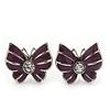 Small Purple Enamel Diamante Butterfly Stud Earrings In Silver Finish - 18mm Length