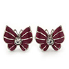 Small Raspberry Enamel Diamante Butterfly Stud Earrings In Silver Finish - 18mm Length