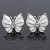 Small White Enamel Diamante Butterfly Stud Earrings In Silver Finish - 18mm Length