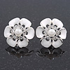 White Enamel Diamante Flower Stud Earrings In Silver Finish - 22mm Diameter