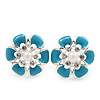 Light Blue Enamel Diamante Flower Stud Earrings In Silver Finish - 22mm Diameter