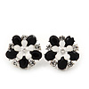 Black/White Diamante Flower Stud Earrings In Silver Plating - 2cm Diameter