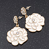 White Enamel 'Rose' Drop Earrings In Gold Plating - 4cm Length
