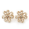 White Enamel Dimensional Floral Stud Earrings In Gold Plated Metal - 2.5cm in diameter