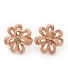 Pale Pink Enamel Dimensional Floral Stud Earrings In Gold Plated Metal - 2.5cm in diameter