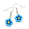 Children's Small Blue Acrylic 'Flower' Drop Earring In Silver Plating - 3cm Length