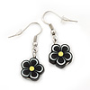 Children's Small Black Acrylic 'Flower' Drop Earring In Silver Plating - 3cm Length