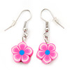 Children's Small Pink Acrylic 'Flower' Drop Earring In Silver Plating - 3cm Length