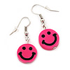 Children's Small Bright Pink 'Happy Face' Acrylic Drop Earrings In Silver Plating - 3cm Length