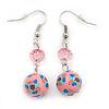 Light Pink Acrylic Drop Earrings In Silver Plating - 4.5cm Length